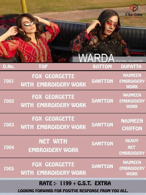 Charizma Warda Festival Collection designer salwar suits in georgette fabric with heavy dupatta fully designer collection 10
