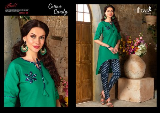hirwa presents cotton candy linen kurti with ikkat dhoti pants 7