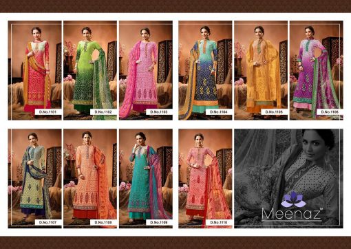 meenaz satrangi bandhej cotton print ladies suits catalog 2
