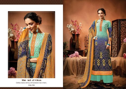 meenaz satrangi bandhej cotton print ladies suits catalog 8