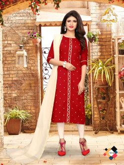 nari vol 10 rijiya trends cotton kurti with banarsi dupatta collection 13
