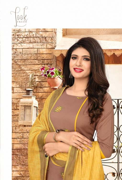 nari vol 10 rijiya trends cotton kurti with banarsi dupatta collection 3