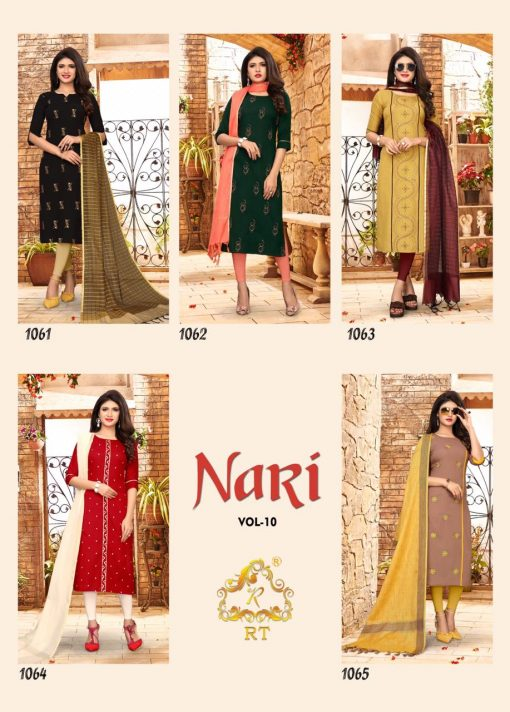 nari vol 10 rijiya trends cotton kurti with banarsi dupatta collection 9