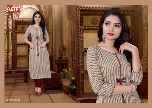 STF launch feel fresh south cotton with princess cut and pocket kurti 9