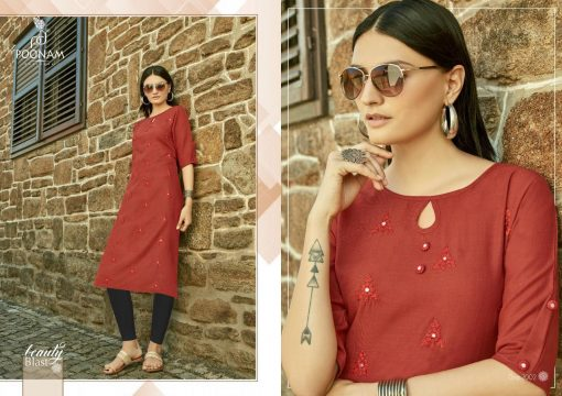 POONAM DESIGNER ASIANA VOL 2 CASUAL WEAR KURTI WITH MIRROR WORK TRADER 13