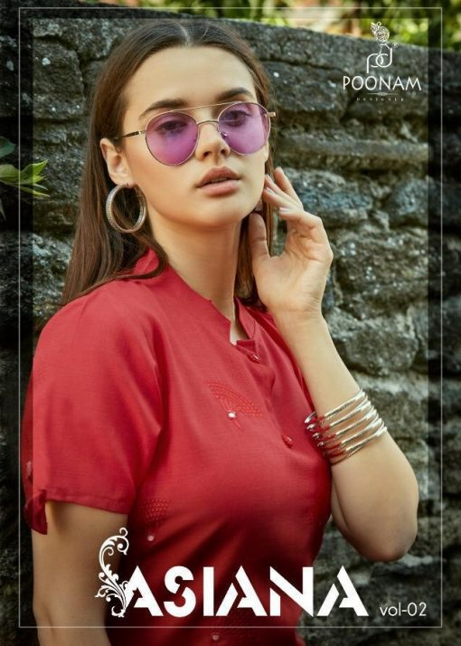 POONAM DESIGNER ASIANA VOL 2 CASUAL WEAR KURTI WITH MIRROR WORK TRADER 1
