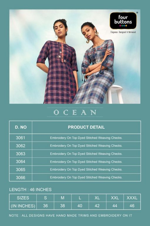 FOUR BUTTONS OCEAN CATALOGUE PURE COTTON EMBROIDERY WORK FULLY STITCH KURTIS 3