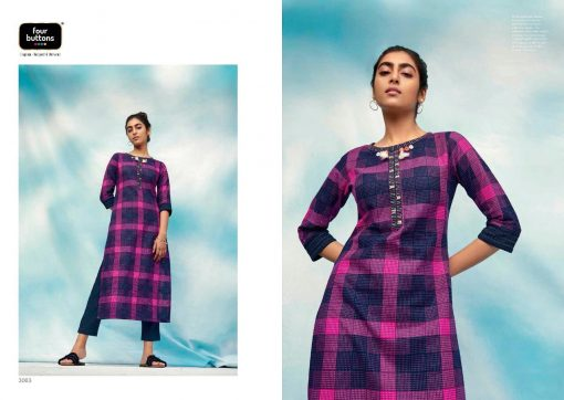 FOUR BUTTONS OCEAN CATALOGUE PURE COTTON EMBROIDERY WORK FULLY STITCH KURTIS 4