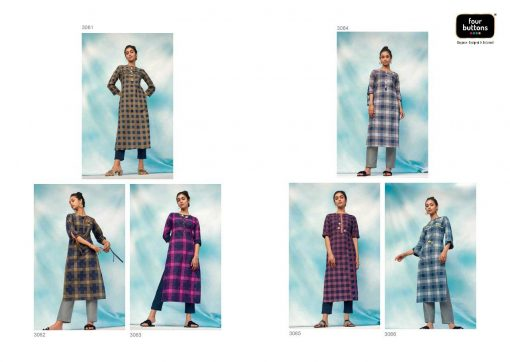 FOUR BUTTONS OCEAN CATALOGUE PURE COTTON EMBROIDERY WORK FULLY STITCH KURTIS 7