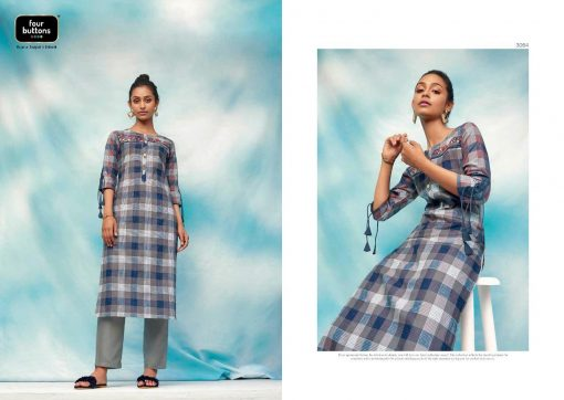 FOUR BUTTONS OCEAN CATALOGUE PURE COTTON EMBROIDERY WORK FULLY STITCH KURTIS 9