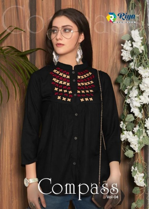 riya designer compass vol 4 embroidered short top online shopping 1