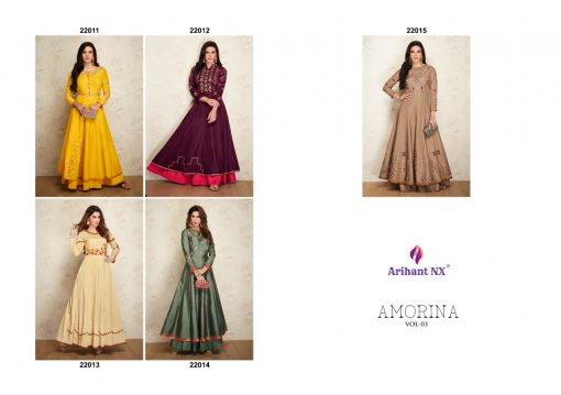 arihant nx amorina-3 long gown style kurtis collection online seller full catalog 2