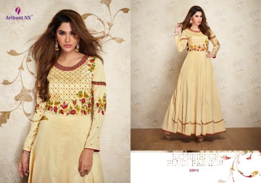 arihant nx amorina-3 long gown style kurtis collection online seller full catalog 8