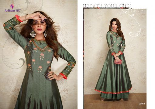 arihant nx amorina-3 long gown style kurtis collection online seller full catalog 9