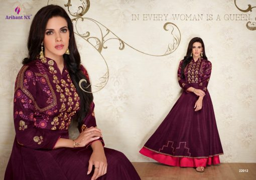 arihant nx amorina-3 long gown style kurtis collection online seller full catalog 12