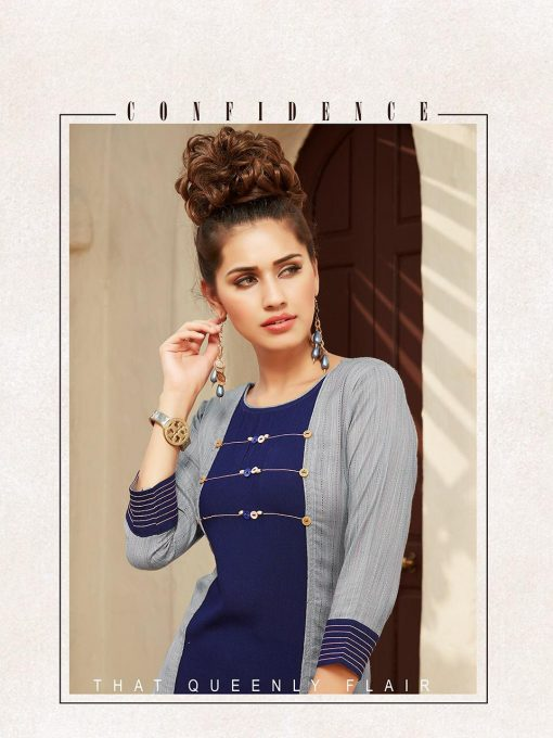 Anokhi by ladies flavour rayon stylish long top with pant collection 3