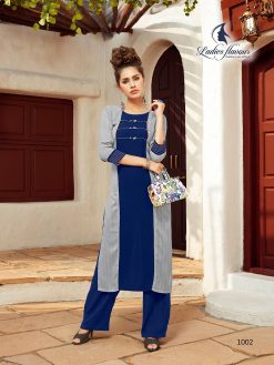 Anokhi by ladies flavour rayon stylish long top with pant collection 16