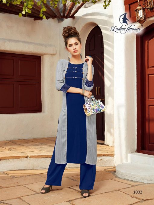 Anokhi by ladies flavour rayon stylish long top with pant collection 5