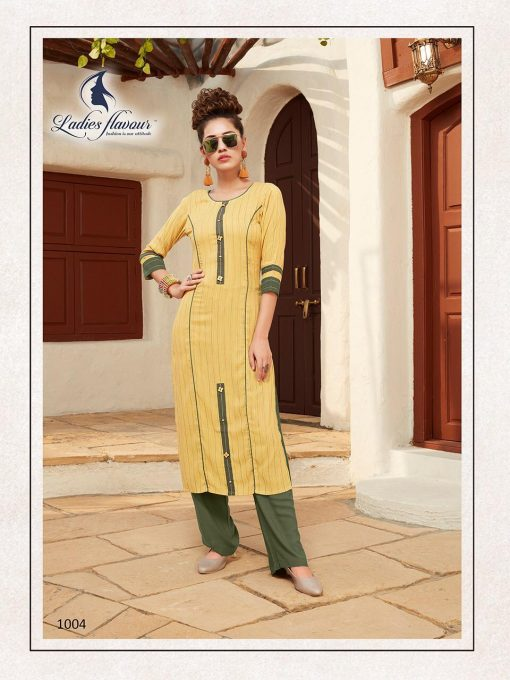 Anokhi by ladies flavour rayon stylish long top with pant collection 9