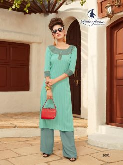 Anokhi by ladies flavour rayon stylish long top with pant collection 23