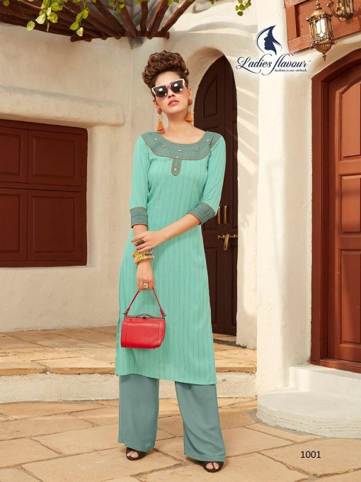 Anokhi by ladies flavour rayon stylish long top with pant collection 12