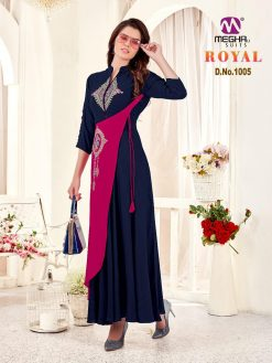 meghali kurti present royal rayon long festive collection of kurtis wholesaler 15