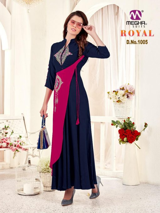 meghali kurti present royal rayon long festive collection of kurtis wholesaler 4