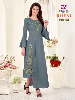 meghali kurti present royal rayon long festive collection of kurtis wholesaler 16