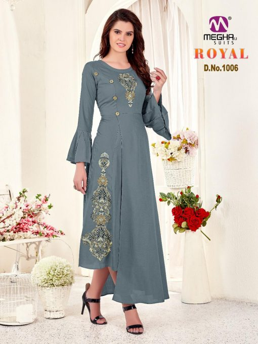 meghali kurti present royal rayon long festive collection of kurtis wholesaler 5