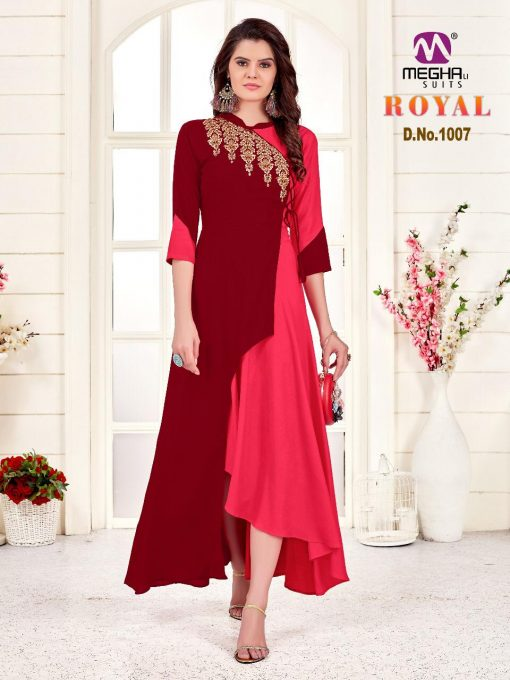 meghali kurti present royal rayon long festive collection of kurtis wholesaler 6