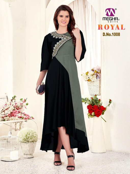 meghali kurti present royal rayon long festive collection of kurtis wholesaler 7