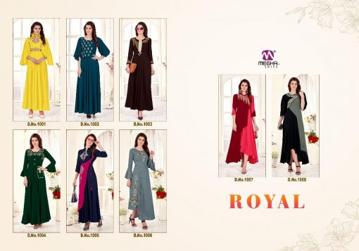 meghali kurti present royal rayon long festive collection of kurtis wholesaler 8