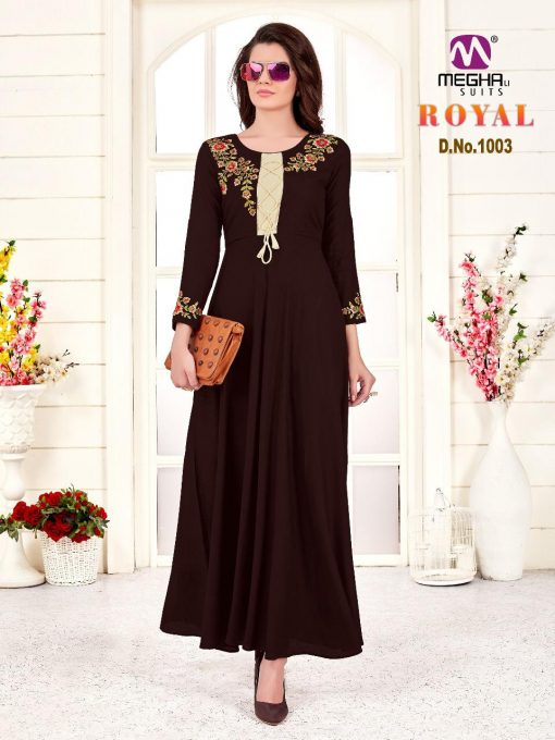 meghali kurti present royal rayon long festive collection of kurtis wholesaler 9