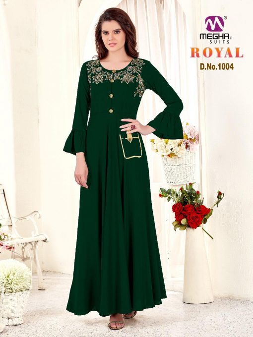 meghali kurti present royal rayon long festive collection of kurtis wholesaler 10