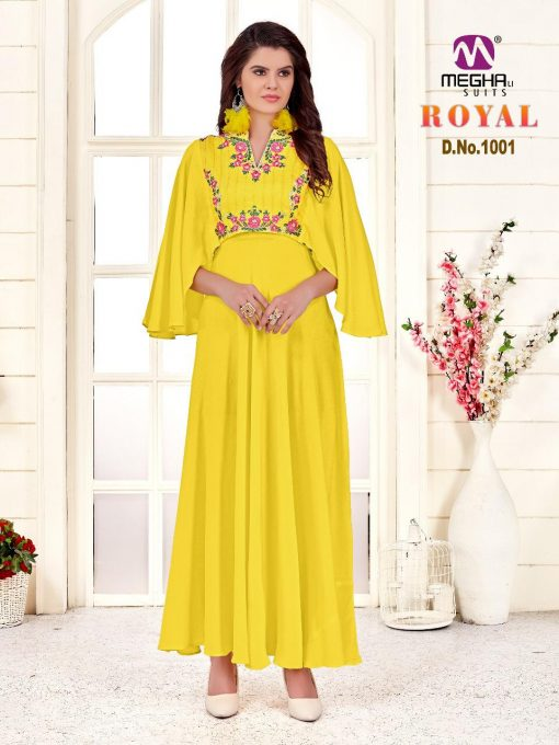 meghali kurti present royal rayon long festive collection of kurtis wholesaler 11