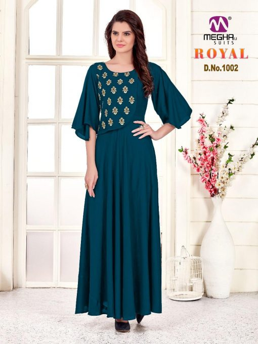 meghali kurti present royal rayon long festive collection of kurtis wholesaler 1