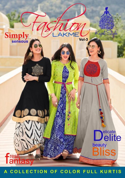 kajal style fashion lakme vol 3 rayon gown style long kurti supplier 1