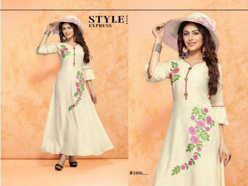 trendy fiona designer kurti in tow tone magic rayon fabric stylies kurtis full catalog 2