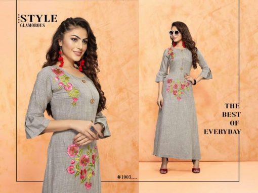 trendy fiona designer kurti in tow tone magic rayon fabric stylies kurtis full catalog 3