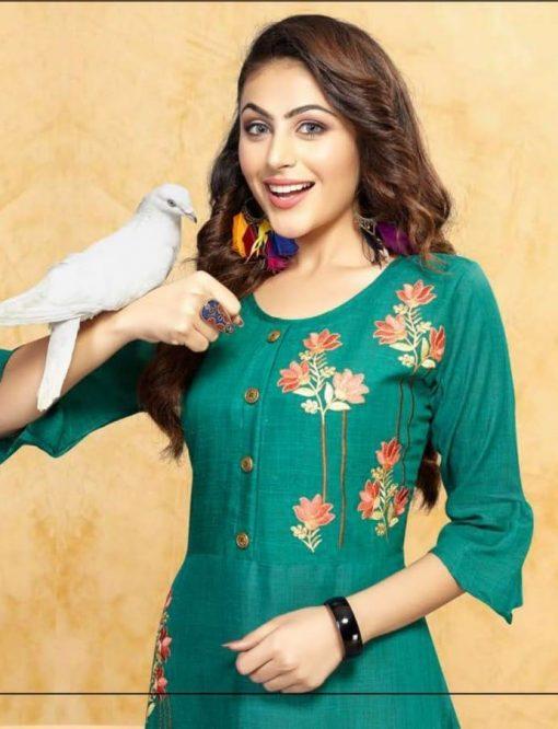 trendy fiona designer kurti in tow tone magic rayon fabric stylies kurtis full catalog 1