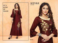 trendy fiona designer kurti in tow tone magic rayon fabric stylies kurtis full catalog 15