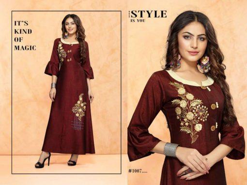 trendy fiona designer kurti in tow tone magic rayon fabric stylies kurtis full catalog 5