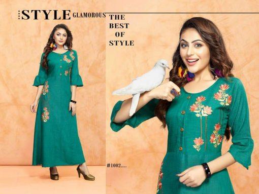 trendy fiona designer kurti in tow tone magic rayon fabric stylies kurtis full catalog 6