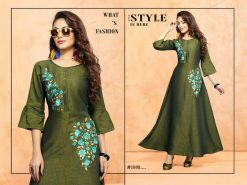 trendy fiona designer kurti in tow tone magic rayon fabric stylies kurtis full catalog 17