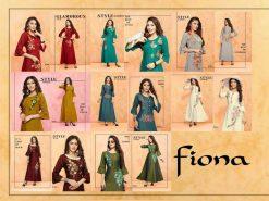 trendy fiona designer kurti in tow tone magic rayon fabric stylies kurtis full catalog 18