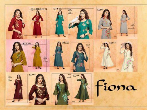 trendy fiona designer kurti in tow tone magic rayon fabric stylies kurtis full catalog 8