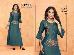 trendy fiona designer kurti in tow tone magic rayon fabric stylies kurtis full catalog 19
