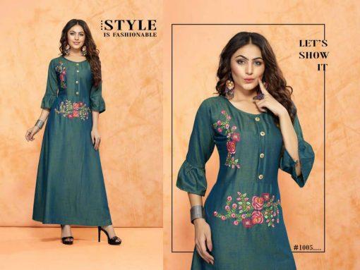 trendy fiona designer kurti in tow tone magic rayon fabric stylies kurtis full catalog 9