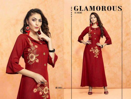 trendy fiona designer kurti in tow tone magic rayon fabric stylies kurtis full catalog 10