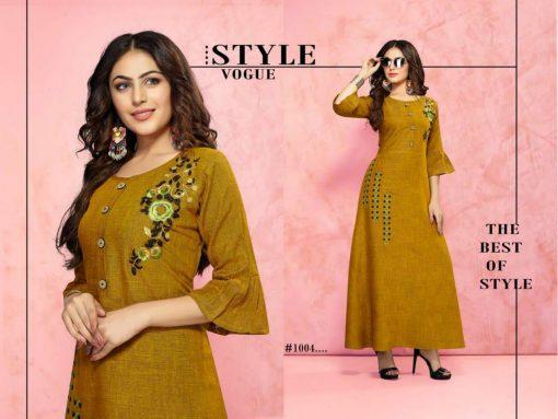 trendy fiona designer kurti in tow tone magic rayon fabric stylies kurtis full catalog 11